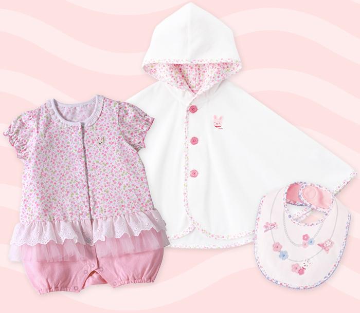 女の子の赤ちゃんにおすすめ!チュール付きのおしゃれなショートオール、パイル素材のポンチョ