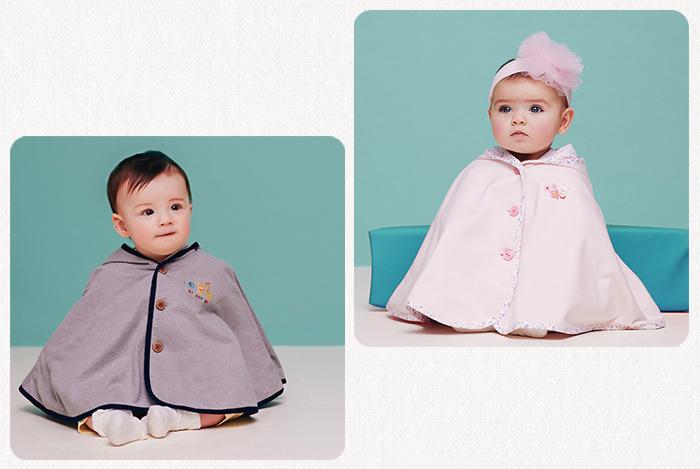 体温調整や紫外線対策にもピッタリな赤ちゃん用のポンチョ。