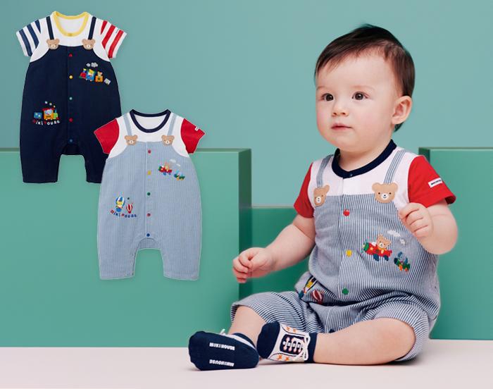 ミキハウスらしい元気なカラーのオーバーオール風デザインの男の子用ショートオール。