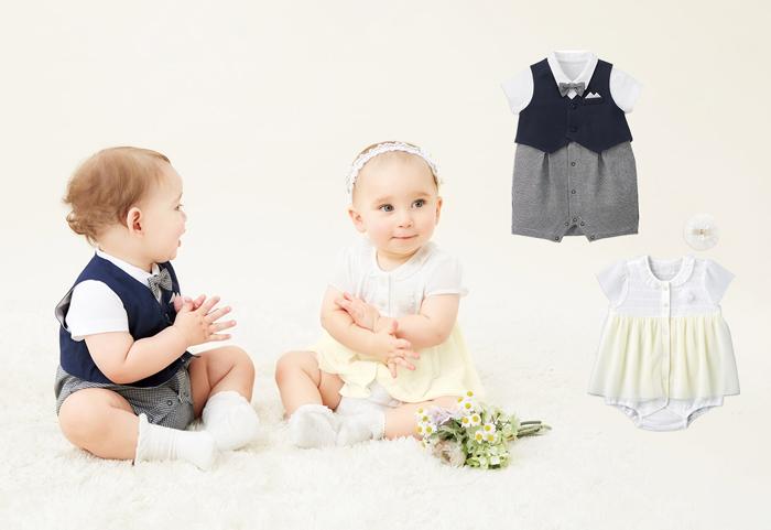 夏のフォーマルシーンにおすすめの、赤ちゃん用のお洋服。