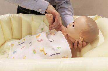 ⑤体は手で洗います